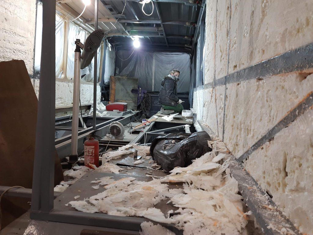 выравнивание стен после нанесения напыляемого утеплителя ППУ