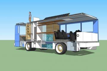 3д модель дома на колесах из автобуса Икарус